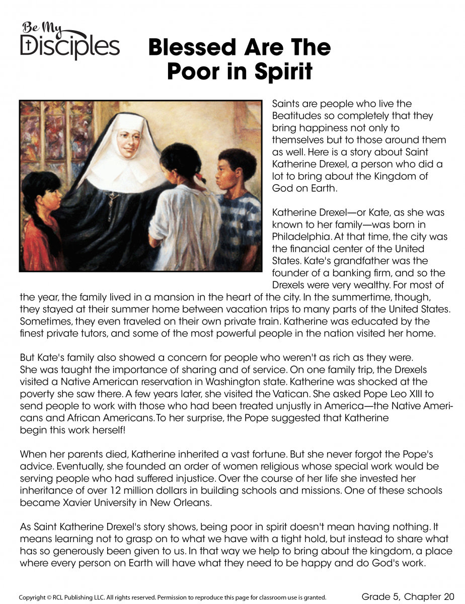 Chapter 20 - Blessed Are Poor in Spirit Activity (PDF)