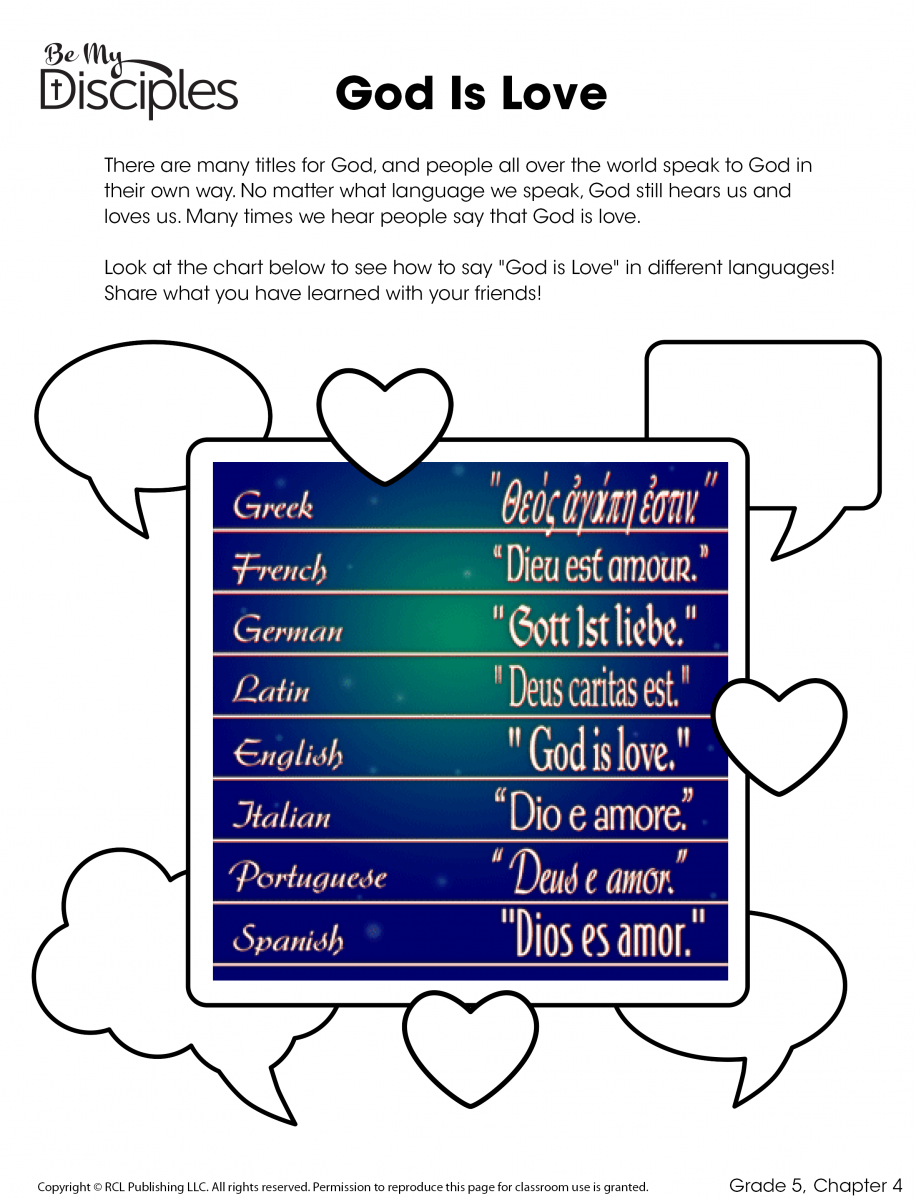 Chapter 4 -God Is Love Activity (PDF)