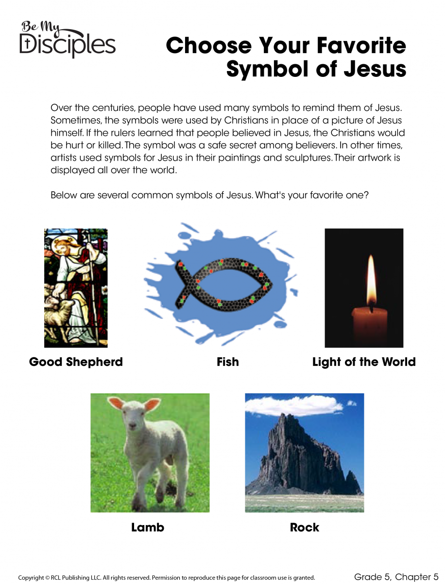 Chapter 5 - Choose Your Favorite Symbol of Jesus Activity (PDF)